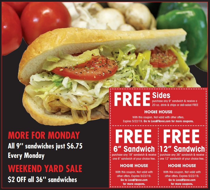 Coupons - Hogie House Sandwiches